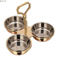 3 Compartment Copper Steel Pickle Set With Brass Stand