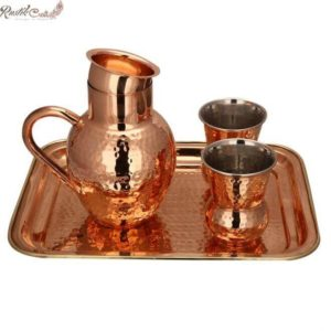 Matki Jug And 2 Glass Set With Brass Tray