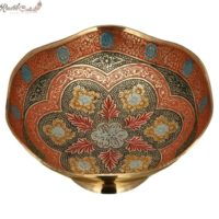 Red Meenakari Print Brass Bowl
