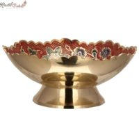 Red Floral Shaped Brass Bowl