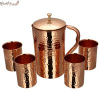 Set of Hammered Jug And 4 Glass In Gift Box