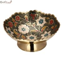 Multi Colored Floral Shaped Brass Bowl