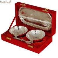 Silver Tray And 2 Bowl, Spoons In Velvet Gift Box