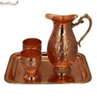 Designer Carving Jug N Chetai Glass Set With Brass Tray
