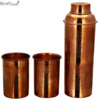 Set of Embossed Bottle and 2 Glass in Gift Box