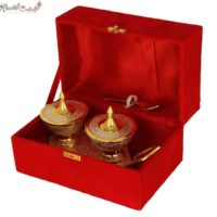 Gold Silver Trolly Tray With Attach Bowl N Spoons In Velvet Box