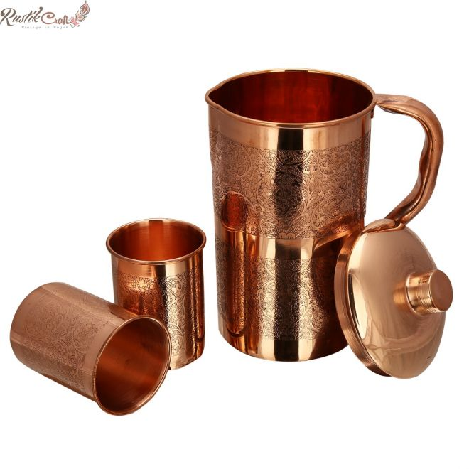 Set of Embossed Jug And 4 Glass In Gift Box
