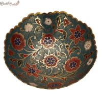 Green Floral Shaped Brass Bowl