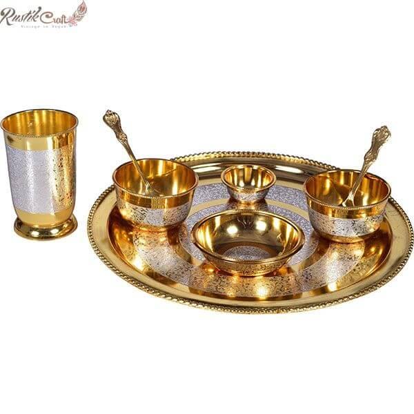 Royal Gold Silver Brass Thali/ Dinner Set