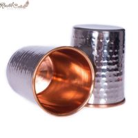 Set of 2 Copper Glass With Outer Steel Layer