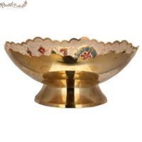 White Floral Shaped Brass Bowl