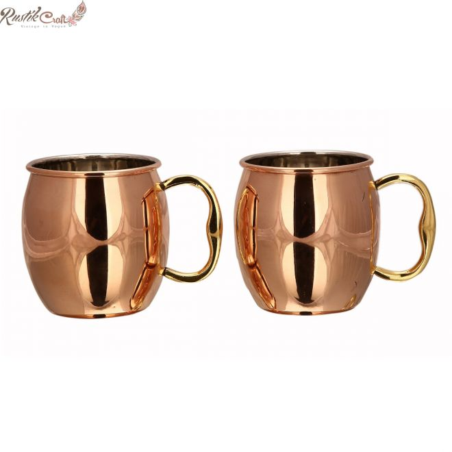 Plain 2 Mug Set With Inside Nickel In Open Gift Box