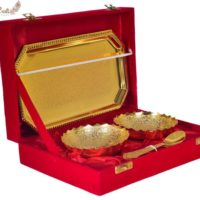 Set of Two Golden Brass Bowl N Spoon Set With Tray In Gift Box