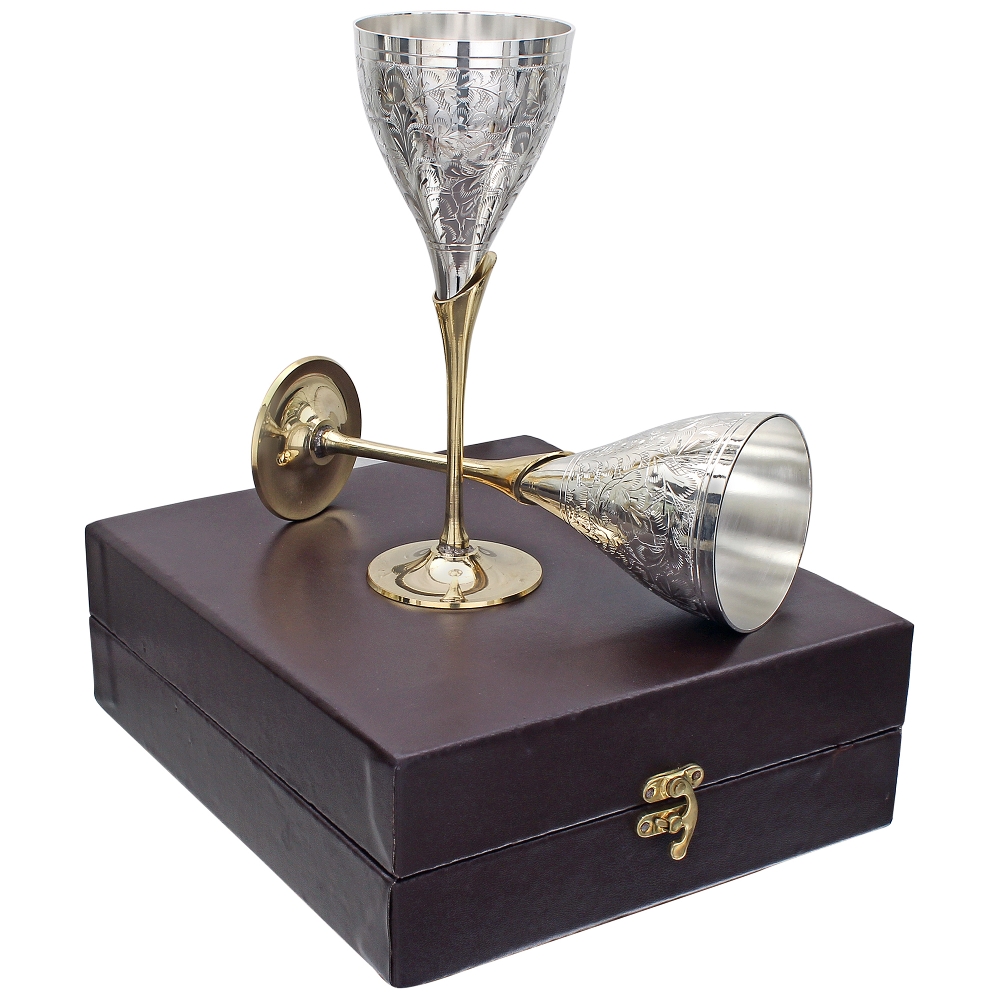 Handmade Brass Royal Wine Glass Goblet Set Of 2 In Gift Box