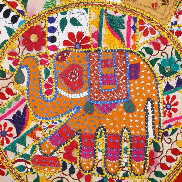 "Ethnic Handmade Vintage Round Khambadi Patchwork Wall Tapestry 30""."
