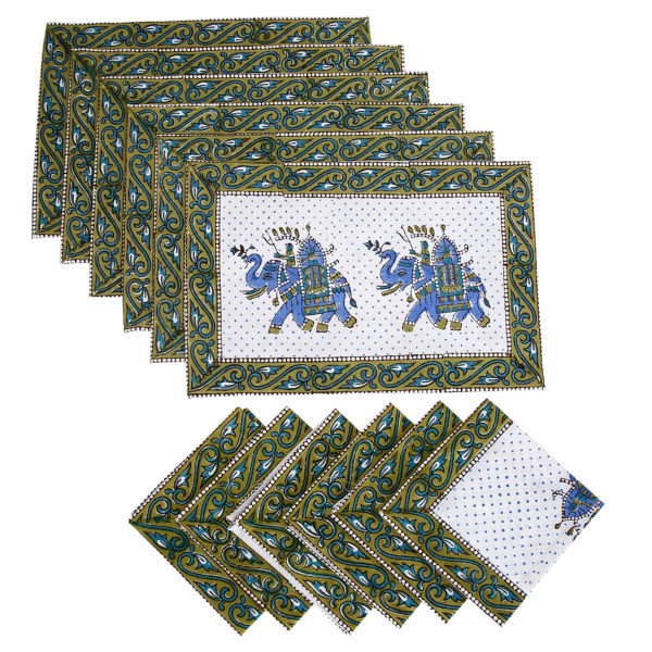 Cotton Block Prints Napkins & Place mats Set of 6 Each